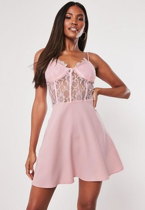 Missguided Blush Lace Bust Cup Skater Dress