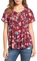 Lucky Brand Women's Floral Print Peasant Top