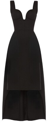 Alexander McQueen Plunge-Neck Dress with High-Low Hem