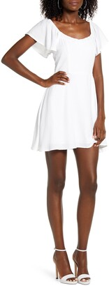 Rowa Flutter Sleeve Minidress
