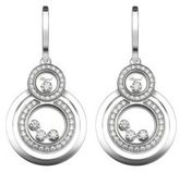 Chopard Happy 8 Diamond & 18K White Gold Drop Earrings