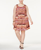NY Collection Plus Size Mixed-Print Fit & Flare Dress