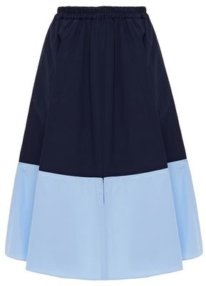 Marni Cutout Two-tone Cotton-poplin Skirt