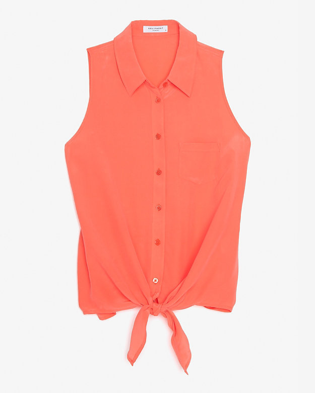 Equipment Mina Tie Front Sleeveless Blouse