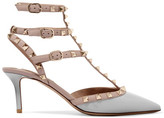 Valentino Rockstud Patent-leather Pumps - Light gray