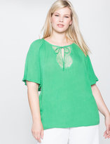 ELOQUII Plus Size Lace Detail Peasant Blouse