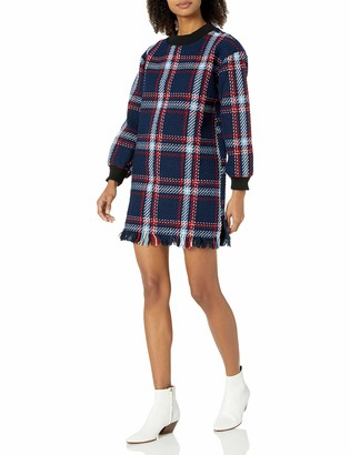 J.o.a. Women's Fringed Plaid Shift Dress