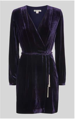 Whistles Lavone Silk Mix Velvet Dress