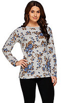 Denim & Co. As Is Active_Long Sleeve Rose Printed French Terry Top
