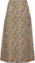Marni Printed cotton and silk-blend midi skirt