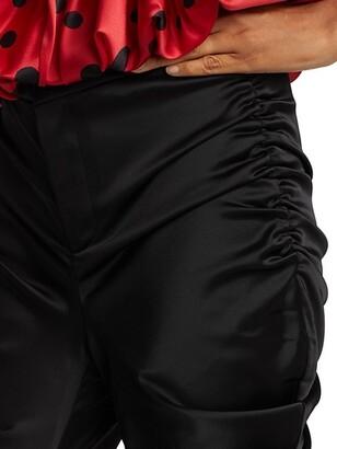 Alejandra Alonso Rojas Gathered Silk Satin Pants