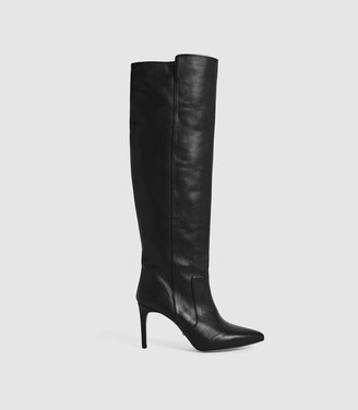 Reiss ZINNIA LEATHER POINT TOE KNEE HIGH BOOTS Black