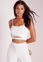 Missguided Crepe Cut Out Bralette Top White