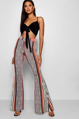 boohoo High Waist Bohemian Slinky Flares
