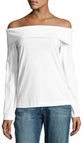 Tibi Mercerized Knit Off-the-Shoulder Top, White