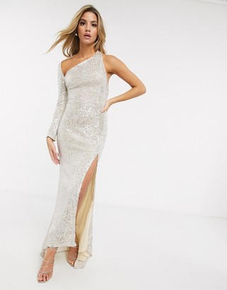 Club L London one shoulder sequin maxi dress with split in silver