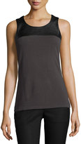 Nic+Zoe Chalet Faux-Leather Trim Top, Dark Gray