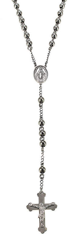 JCPenney FINE JEWELRY Mens Stainless Steel Rosary Necklace