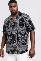 BoohooMAN Big & Tall Bandana Print Revere Collar Shirt