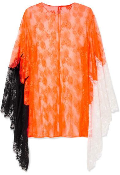 Christopher Kane Color-block Lace Top - Bright orange