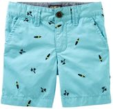 Osh Kosh Boys 4-8 Flat Front Embroidered Pattern Shorts