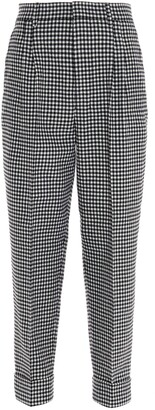 Ami Houndstooth Patterned Cropped Trousers