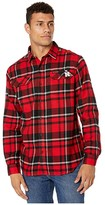 Columbia College Nebraska Cornhuskers Collegiate Flare Guntm Flannel Long Sleeve Shirt (Bright Red Plaid) Men's Long Sleeve Button Up