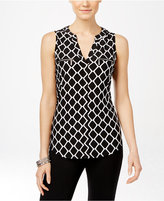 INC International Concepts Printed Zip-Trim Top, Only at Macy's