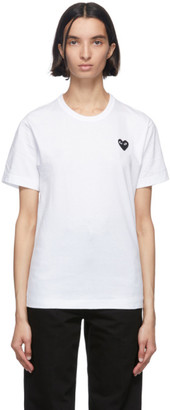 Comme des Garcons White and Black Mens Fit Heart T-Shirt