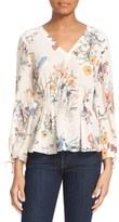 Rebecca Taylor Women's 'Meadow Floral' Print Silk Pleat Waist Top