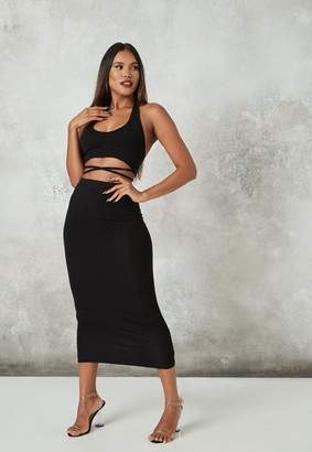 Missguided Black Halterneck Top And Midaxi Skirt Co Ord Set