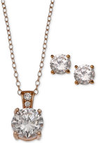 Giani Bernini 2-Pc. Set Cubic Zirconia Round Pendant Necklace and Stud Earring Set in 18k Rose Gold-Plated Sterling Silver, Only at Macy's