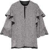 Isabel Marant Basile Ruffled Sequined Tulle Top - Silver