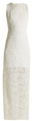 Diane von Furstenberg Embroidered-mesh Sleeveless Dress - White