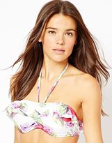 South Beach Rosie Floral Photographic Print Bandeau Bikini Top With Frill
