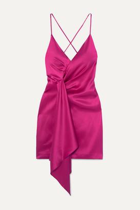 Cushnie Draped Silk-charmeuse Mini Dress - Pink