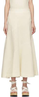 Jil Sander Off-White Knit Linen Skirt