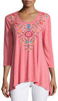 Johnny Was 3/4-Sleeve Embroidered Trapeze Tee, Coral