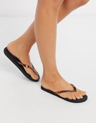 Accessorize Eva tortoisehell thong thongs in black