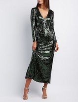 Charlotte Russe Sequin Plunging Maxi Dress