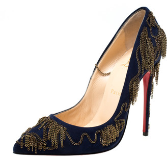 Christian Louboutin Blue Suede Doly Party Chain Embellished Pointed Toe Pumps Size 38.5