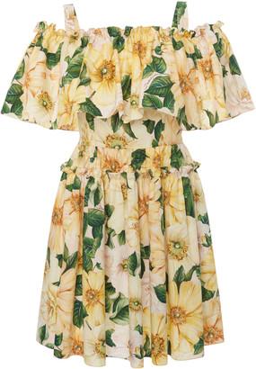 Dolce & Gabbana Women's Camellia-Print Cotton Off-The-Shoulder Mini Dress - Floral - Moda Operandi