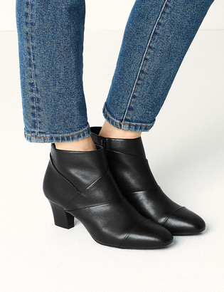 Marks and Spencer Leather Block Heel Square Toe Boots