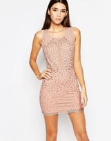 Wow Couture Allover Diamonte Mini Dress with Mesh Inserts