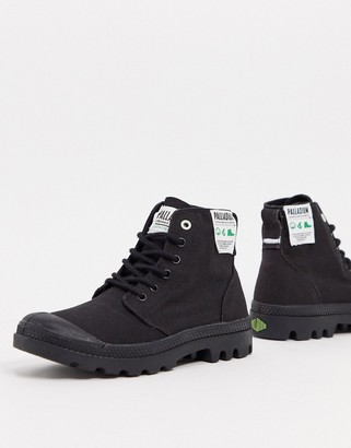 Palladium Pampa Hi organic cotton lace-up ankle boots in black