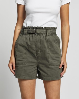 Silent Theory Women's Green High-Waisted - Paperbag Shorts - Size One Size, 8 at The Iconic