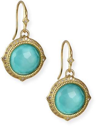Armenta Old World Turquoise/Quartz Drop Earrings w/ Diamonds & 18k Gold