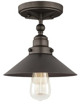Trent Austin Design Gardiner 1 - Light 8.8'' Unique/Statement Cone Semi Flush Mount Fixture Finish: Antique Bronze