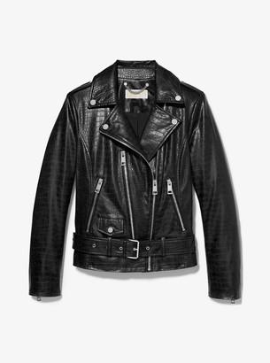 MICHAEL Michael Kors Faux Crocodile Moto Jacket