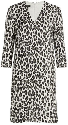 Escada Dorras V-Neck Snow Leopard-Print Shift Dress